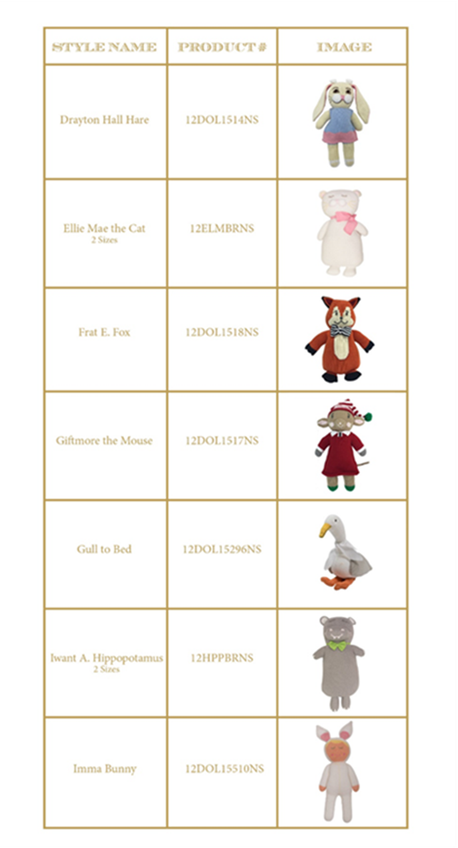 Recalled Beaufort Bonnet Company Handmade Knit Dolls.