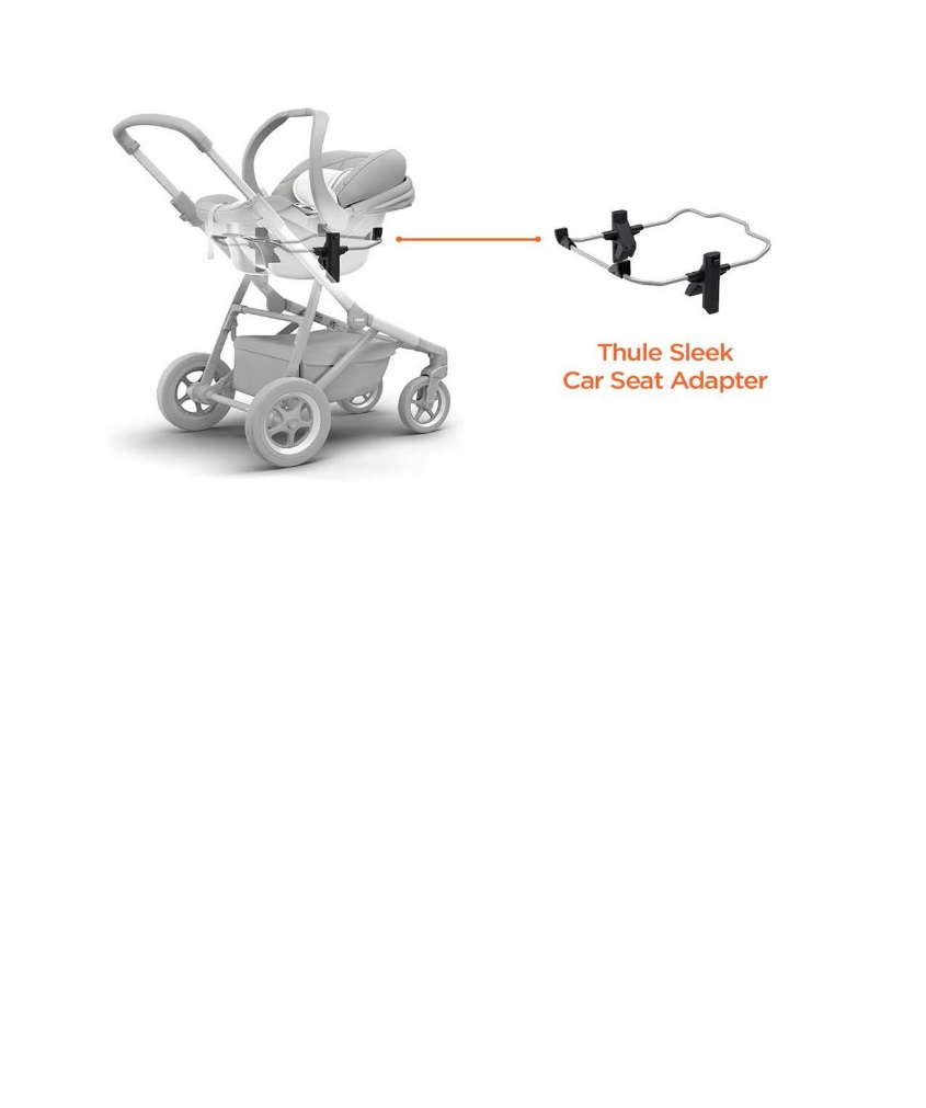 Recalled Thule Sleek Car Seat Adapter for use with a Thule Sleek stroller and a Chicco car seat.