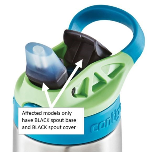 Recalled water bottle with black spout base and black spout cover