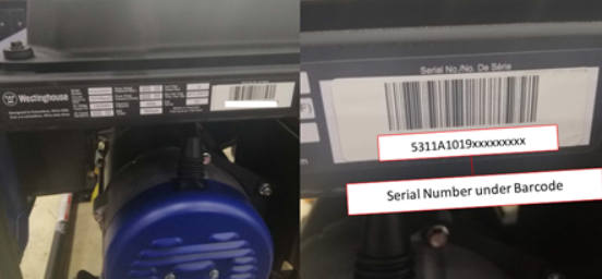 Location and format of serial number on recalled Westinghouse WGen5300DFv Dual Fuel Portable Generator