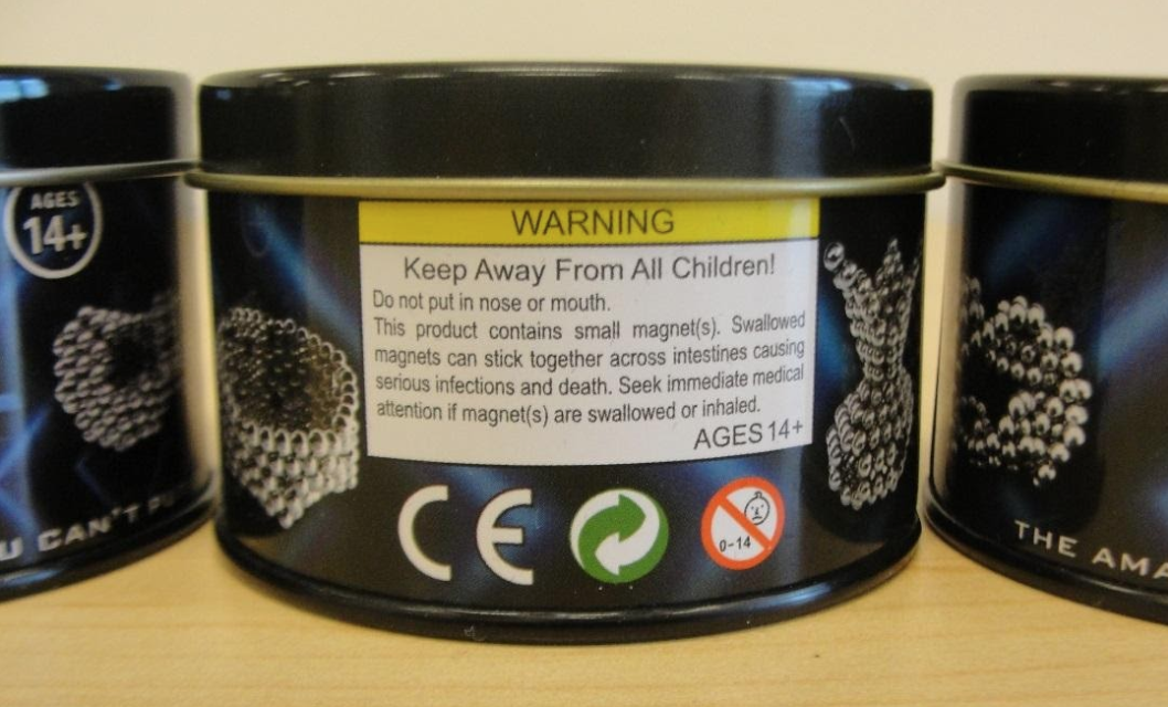 Warning Label on recalled Mag Cube metal container