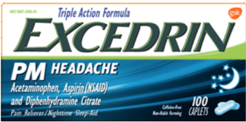 Recalled Excedrin PM Headache Caplets (50, 80, 100, 125, 200, 250 and 300-count)