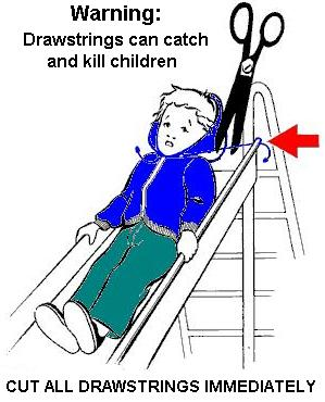 Child on Slide with Drawstring Caught