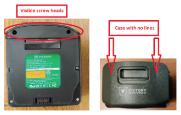 Battery packs on recalled units have visible screw heads and a case with no parting lines.