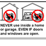 Illustration showing never to use a generator indoors, even in a garage with the door open