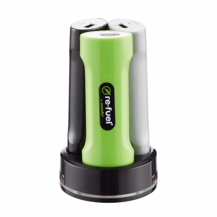 Re-fuel by Digipower Grab and Go Family Pack portable power bank charging station. RF-TRIP appears on the bottom of the charging station.