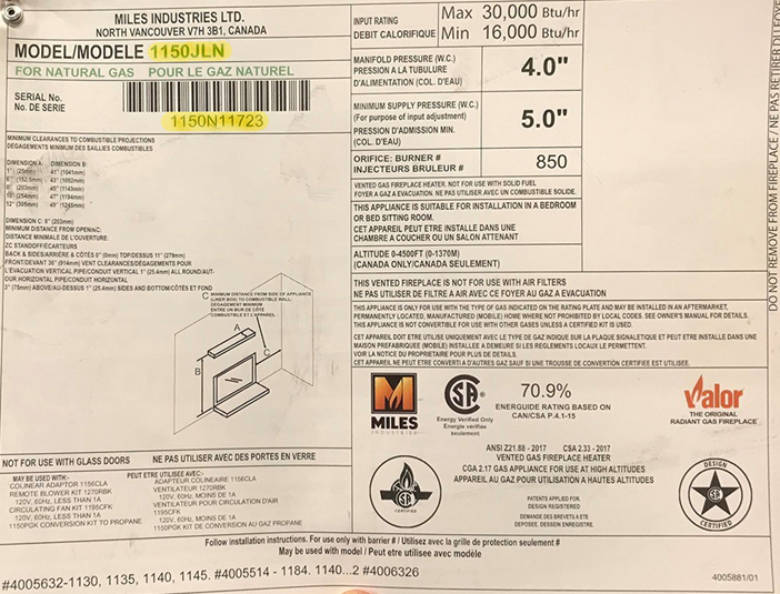 Rating sheet with the model number and serial number