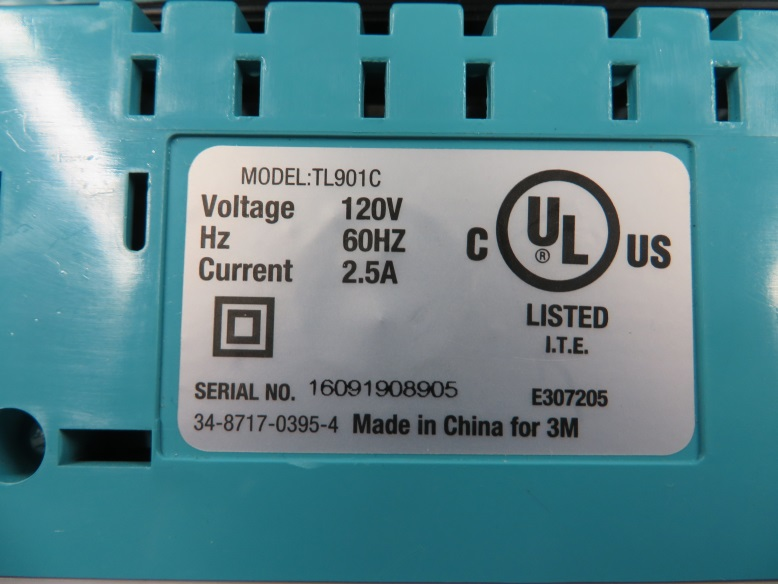 Sticker on bottom of recalled Scotch thermal laminators