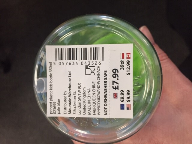 Location of price sticker on water bottle