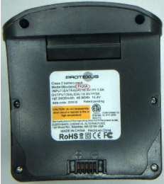 Model PX20A or PX20B is printed on the Protexus battery pack's label.
