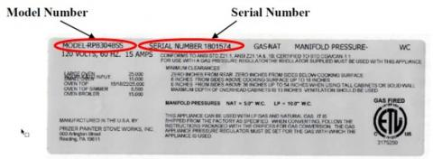Model and Serial Number Location