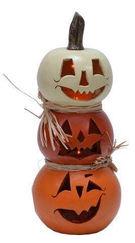 Recalled Mark Feldstein & Associates LED Stacked Gourd Jack O Lantern decoration
