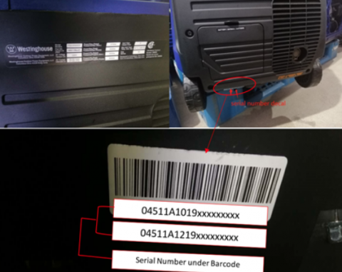 Location and format of serial number on recalled Westinghouse iGen4500DF Dual Fuel Portable Generator