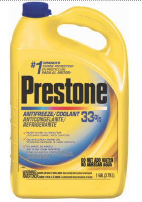 Recalled PRESTONE AMM 33% Export Antifreeze