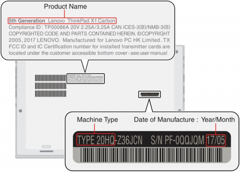 Picture identifying the laptop machine type, serial number, and date of manufacture. (Silver model)
