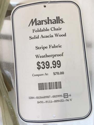 Marshalls hang tag with style number