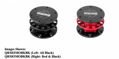 "Recalled quick release steering wheel adaptors in black and black-with-red with ""MOMO"" printed on top."